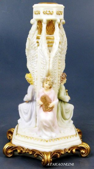 HANDPAINTED ANGEL CANDLE HOLDER-CANDLEHOLDER FIGURINE-STATUE PLAYING INSTRUMENTS (6427)