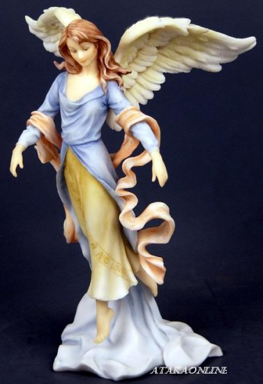 HANDPAINTED ANGEL FIGURINE - STATUE FLOATING IN HEAVEN (6437)