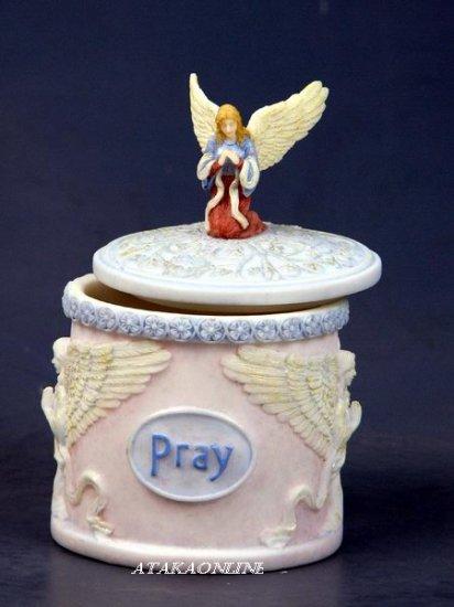 HANDPAINTED ANGEL PRAYER BOX FIGURINE-STATUE (6431)
