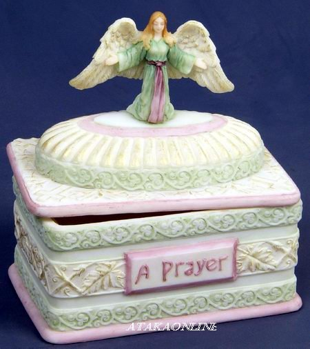 HANDPAINTED ANGEL PRAYER BOX FIGURINE-STATUE (6433)