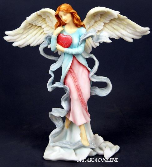 HANDPAINTED ANGEL W LOVING HEART FIGURINE-STATUE (6436)