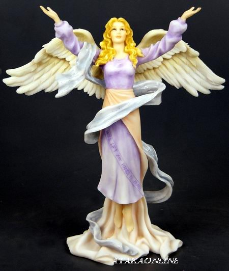 HANDPAINTED ANGEL W OPEN ARMS FIGURINE - STATUE BLESSING (6434)