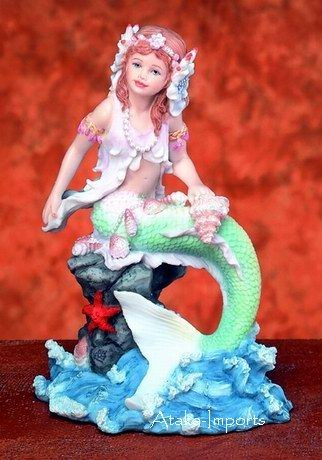 MERMAID FIGURINE-STARFISH & SEASHELL-OCEAN (5725)