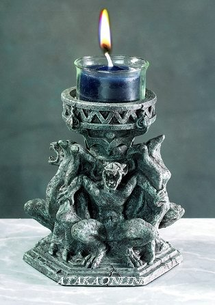 THREE GARGOYLE VOTIVE HOLDER-CANDLE HOLDER-GOTHIC (5533)
