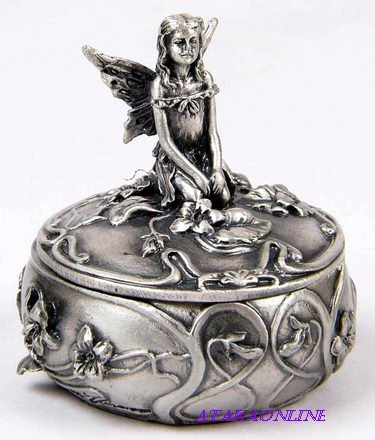 FAIRY TRINKET BOX-PEWTER (6527)