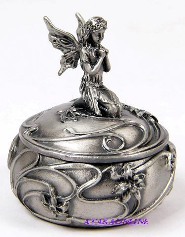 FAIRY TRINKET BOX-PEWTER (6528)
