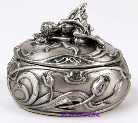 FAIRY TRINKET BOX-PEWTER (6529)