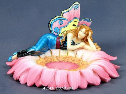 HANDPAINTED FLORAL JEWELRY DISH WITH FAIRY LYING DOWN (6540)