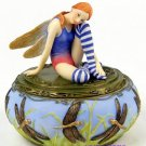 HANDPAINTED JEWELRY BOX W FAIRY & DRAGONFLY (6542)