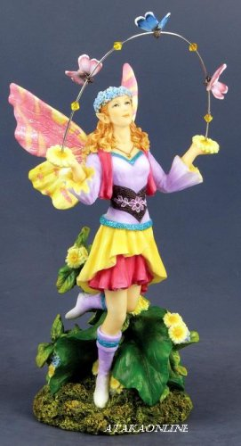 HANDPAINTED PLAYING FAIRY  W BUTTERFLY STATUE-FIGURINE (6535)