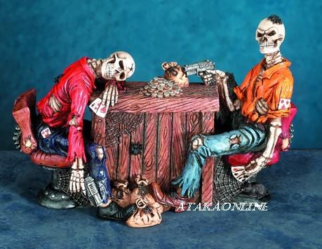 DEAD MAN'S HAND SKELETON-FIGURINE-STATUE-BIZARRE-HALLOWEEN (5702)