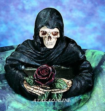 GRIM REAPER ASHTRAY-SKELETON-FIGURINE-STATUE-BIZARRE-HALLOWEEN (4818)