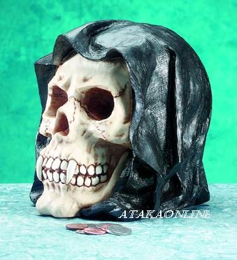 GRIM REAPER MONEY BANK-SKELETON-FIGURINE-STATUE-BIZARRE-HALLOWEEN (5057)