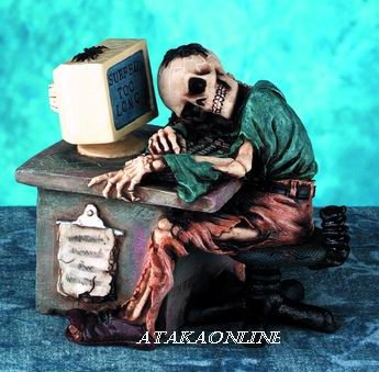 MAN SKELETON-FIGURINE-STATUE-SURF TOO LONG-HALLOWEEN (5041)
