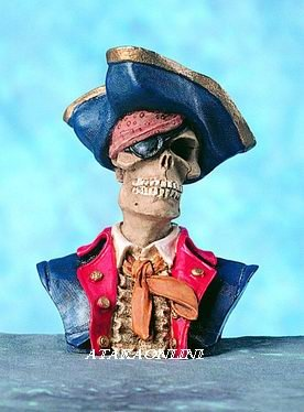 PIRATE SKULL FIGURINE-SKELETON-BUCANEER-HALLOWEEN (4585)