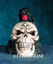 SAMURAI SKULL FIGURINE-SKELETON-JAPANESE-HALLOWEEN (5704)
