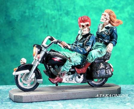 SKELETON COUPLE RIDING MOTORCYCLE-LOVE-HARLEY DAVIDSON STYLE-HALLOWEEN (5058)