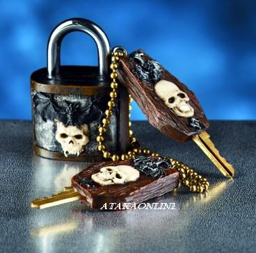 SKULL KEY AND LOCK-SKULL PADLOCK-BAT-LOCKER (5890)