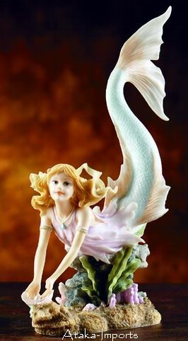 MERMAID HOLDING PERAL-LIVELY-SWEET-STATUE-FIGURINE (5856)