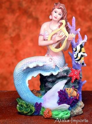 MERMAID PLAYING INSTRUMENT-FIGURINE-STATUE (5727)
