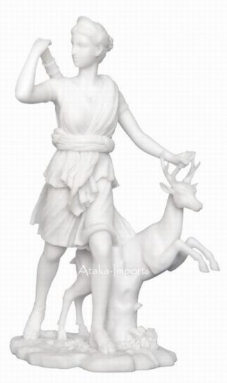 GREEK-ROMAN GODDESS DIANA w DEER STATUE-GORGEOUS (6299)