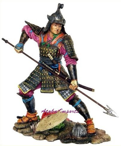 JAPANESE SAMURAI WARRIOR w SPEAR STATUE-COLORFUL (6254)