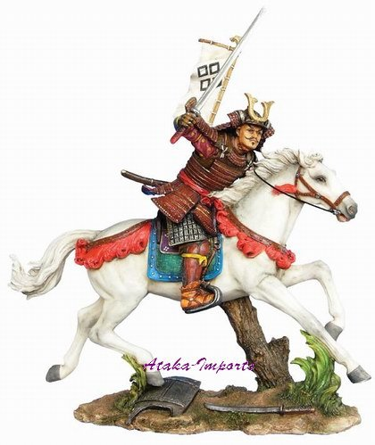 JAPANESE SAMURAI WARRIOR ON HORSE STATUE (6261)