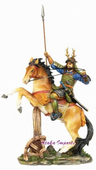 JAPANESE SAMURAI WARRIOR ON HORSE STATUE-GORGEOUS (6262)