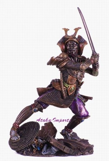 JAPANESE SAMURAI GENERAL-WARRIOR STATUE-BRONZE APPEARANCE (6147)