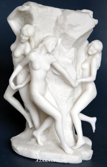 THREE GIRLS CIRCLING-ROMAN SCULPTURE-GREEK-ARTWORK (6453)