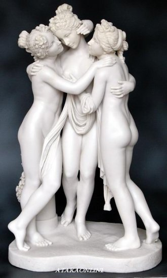 THREE GRACES-ROMAN SCULPTURE-ARTWORK-THREE LADIES (6450)