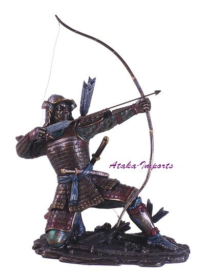 VINTAGE ARMOR JAPANESE SAMURAI WARRIOR w ARROW STATUE (6146)