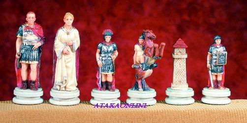 EGYPTIAN VS. ROMAN CHESS SET-HANDPAINTED-ANCIENT-SPECIAL (5128)