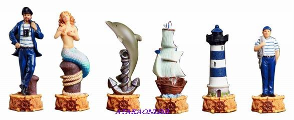 NAUTICAL CHESS SET-HANDPAINTED-ANCIENT-SAILOR (6195)