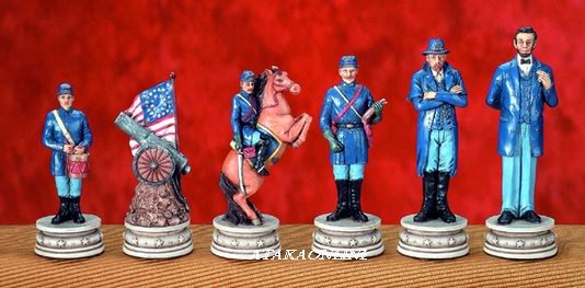 U.S. CIVIL WAR CHESS SET-HANDPAINTED-ANCIENT-SPECIAL (5126)