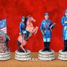 U.S. CIVIL WAR CHESS SET-HANDPAINTED-ANCIENT (5126s)