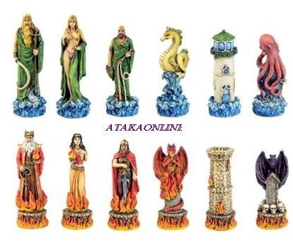 MYTHICAL KINGDOMS CHESS SET-HANDPAINTED-ANCIENT-SPECIAL (6366)