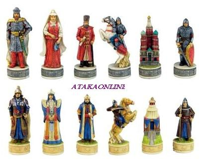 RUSSIAN VS. MONGOLIAN CHESS SET-HANDPAINTED-ANCIENT-SPECIAL (6367)