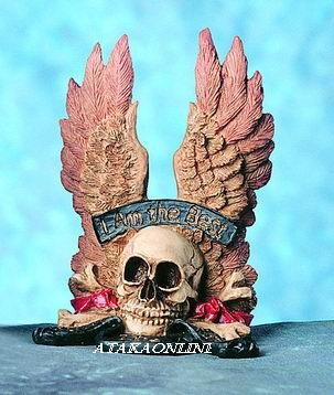 SKULL W WINGS FIGURINE-SKELETON-I AM THE BEST-HALLOWEEN (4726)