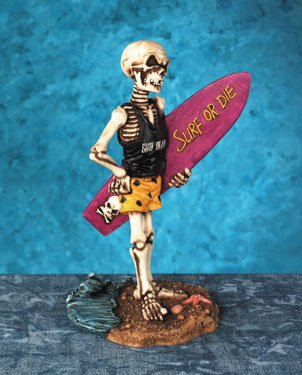 SURF BOARD SKELETON-FIGURINE-STATUE-SPORT-SURF OF DIE-BEACH (5039)