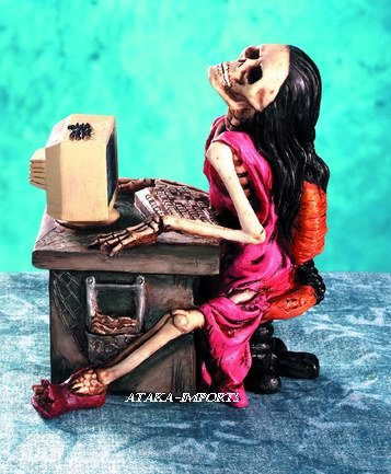 WOMEN SKELETON-FIGURINE-STATUE-SURF TOO LONG-HALLOWEEN (5040)
