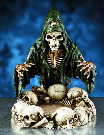 SKULL WIZARY ASHTRAY-SKELETONS-BIZARRE-HALLOWEEN (5990)