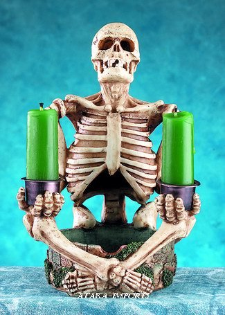 SMOKE STACK CANDLE HOLDER-CANDLEHOLDER-SKELETON-FIGURINE-STATUE (4960)