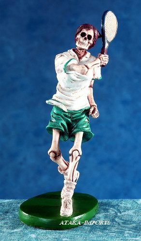 TENNIS SKELETON-FIGURINE-STATUE-SPORT-HALLOWEEN (5606)
