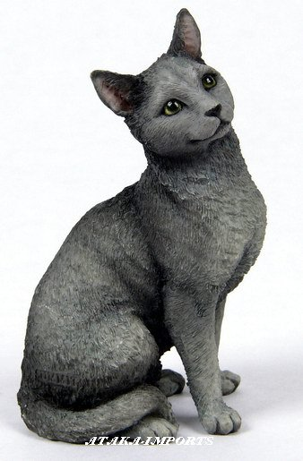 RUSSIAN BLUE CAT FIGURINE (6576)