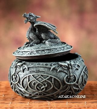 DRAGON LIDDED BOX-TRINKET BOX- JEWELRY BOX-FIGURINE-STATUE (5870)