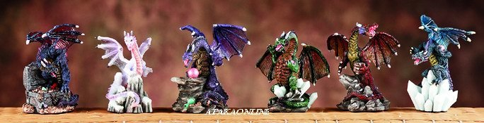 MINI DRAGONS-SET OF 6- FIGURINE-STATUE (5976)