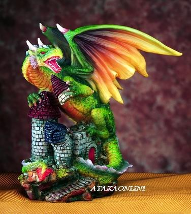 GREEN DRAGON PROTECTING CASTLE-FIGURINE-STATUE (5435)
