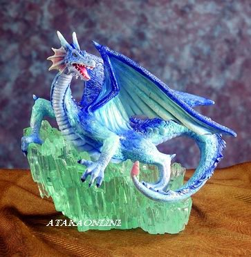 BLUE DRAGON ON CRYSTAL ROCK-FIGURINE-STATUE (5379)