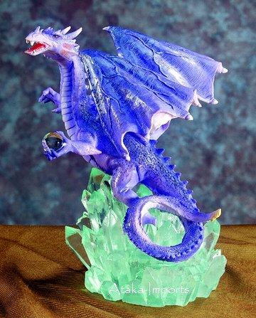 PURPLE DRAGON ON CRYSTAL ROCK-FIGURINE-STATUE (5380-1)